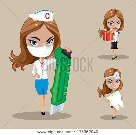Woman doctor or nurse in a vector set of nursing women, vector illustration