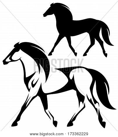 running horse black and white side view vector design