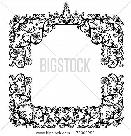 luxurious vintage frame with royal crown among floral motif - black and white vector design
