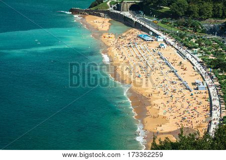 La Concha beach in San Sebastian Spain.