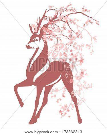 deer among pink flower branches - spring season blossom vector design