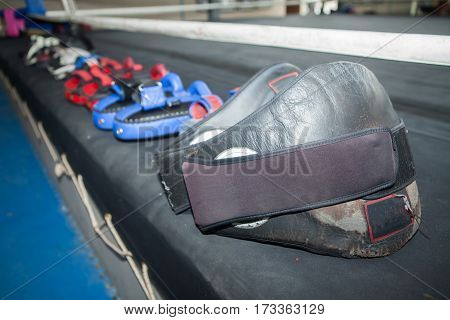 Thai Boxing Equipment On Canvas Ring In Gym Or Camp