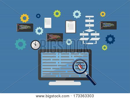 Debugging. Programming. Coding on computer concept illustration