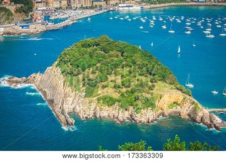 The bay of la Concha in San Sebastian Spain.