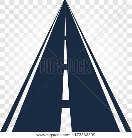 Isolated black color road or highway with dividing markings on white background vector illustration.