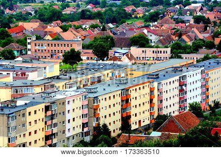 Aerial view of the village Codlea, Transylvania, Romania. poster