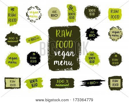 Healthy Food Labels. Hand Drawn Logo Templates. Vector