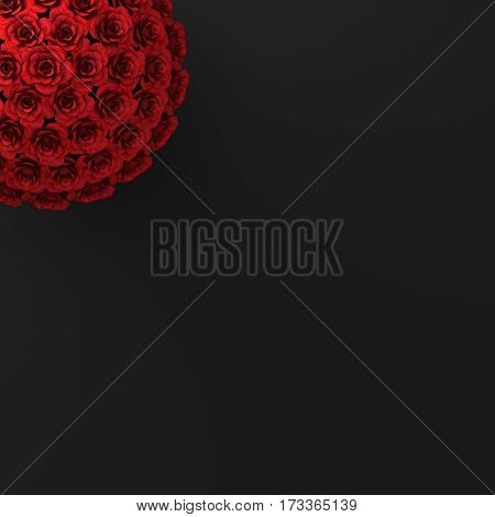 TOP VIEW OF ROSES ON PLAIN BLACK BACKGROUND
