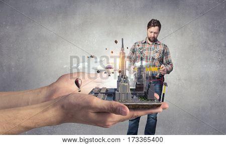 Adult engineer man. Mixed media . Mixed media