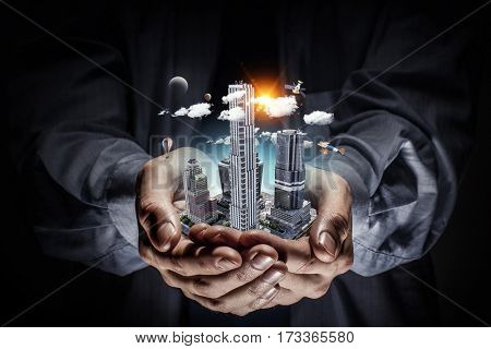 Presenting construction development project . Mixed media