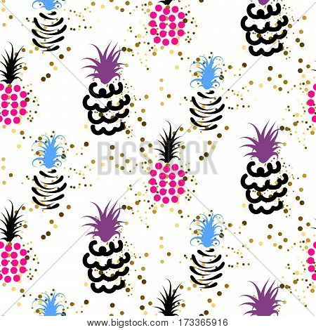 Abstract pineapple with gold glitter bright colors pattern. Glam chic ananas seamless surface texture design for wrap paper and craft projects.