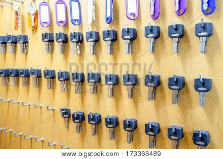 on several hooks hang there are several keys