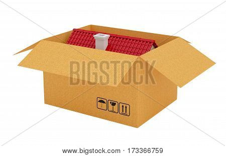 House with red roof in open cardboard box. Isolated on white. 3d rendering