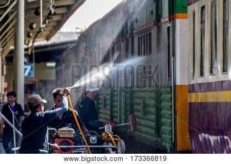 Thai Railway Train Get A Washing For Clean