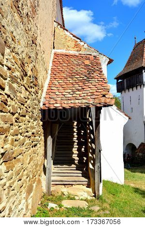 Fortified saxon medieval church in the village Homorod, Transylvania, Romania