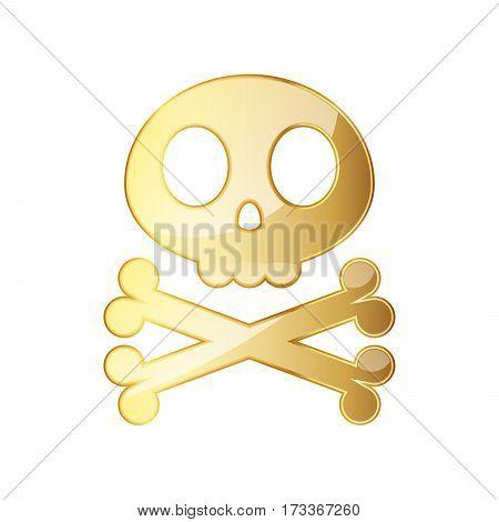 Golden skull with crossbones. Vector illustration. Golden human skull on white background.