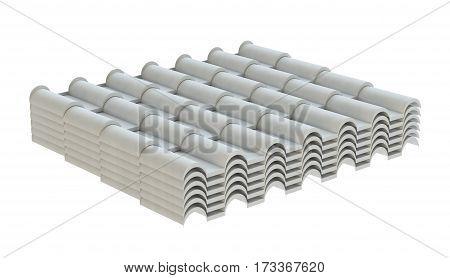 White corrugated tile element of roof. Isolated on white background. 3d illustration