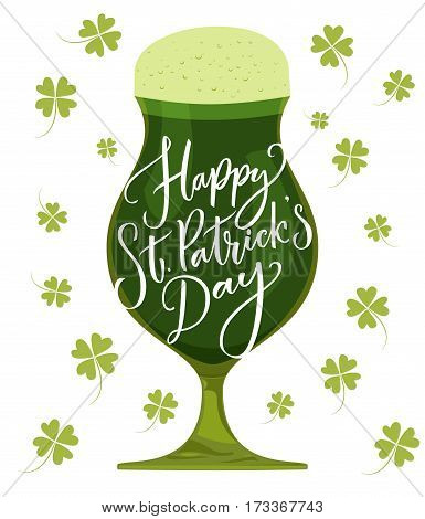 Happy St. Patrick's day card. Typography greeting at green beer glass. Vector modern calligraphy