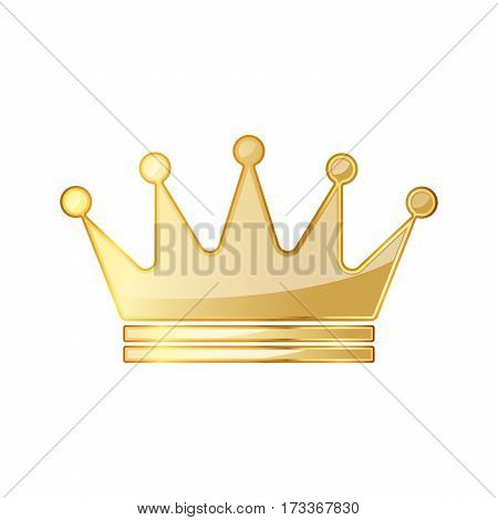 Golden crown icon. Vector illustration. Golden crown symbol isolated on white background.