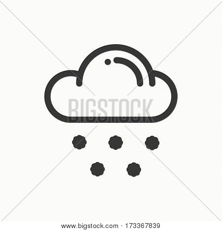 Cloud, sky, snow line simple icon. Weather symbols. Meteorology. Forecast design element. Template for mobile app, web and widgets. Vector linear icon. Isolated illustration. Flat sign snowflake Logo