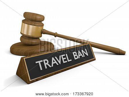 Law concept of the controversial United States travel ban restrictions, 3D rendering