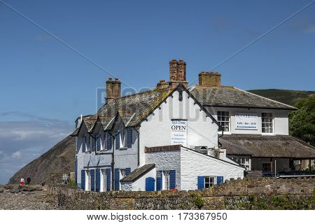 Lynmouth North Devon England 13 July 2016: Restaurant and Accommodations - Rock House. Lynmouth.