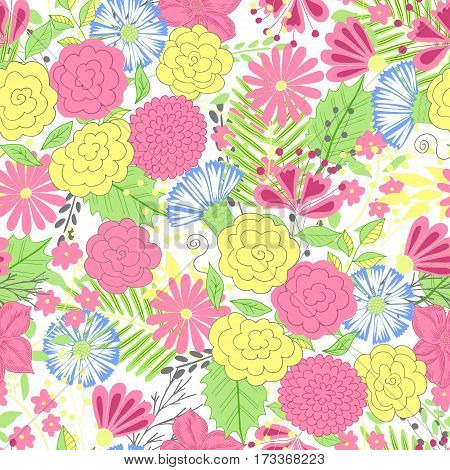 Vector flower pattern. Colorful seamless botanic texture, detailed flowers illustrations. Doodle style, spring floral background