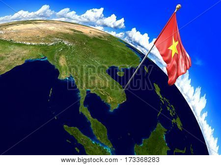 Vietnam national flag marking the country location on world map. 3D rendering, parts of this image furnished by NASA