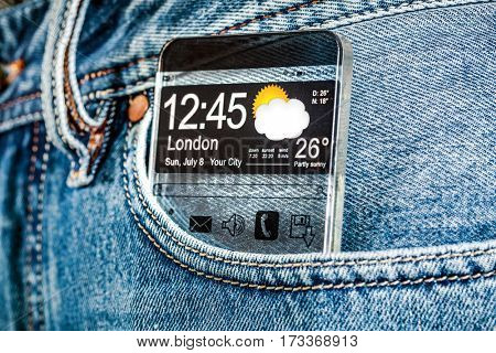 Futuristic Smart phone (phablet) with a transparent display in a pocket of jeans. Concept actual future innovative ideas and best technologies humanity.