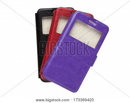 Set of colored covers with a window for smartphone, isolated on a white background
