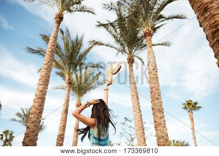 View from below of Brunette woman in beachwear which posing surrounded by palm trees. Back view
