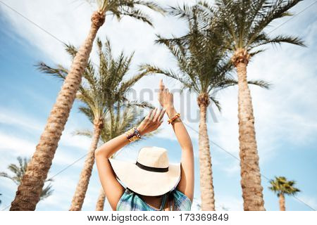 View from below of young woman in beachwear which walking surrounded by palm trees. Back view