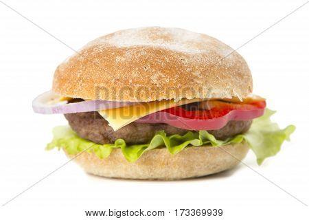 Big Hamburger With Cheese On White