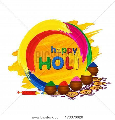 Happy Holi greeting card with traditional pots, pichkari and color splashes