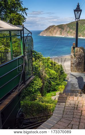 landing site and drop passengers. Water-powered funicular between the villages of Lynton and Lynmouth. View down from Linton. North Devon. UK