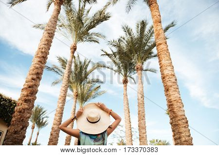 View from below of woman in beachwear which walking surrounded by palm trees. Back view