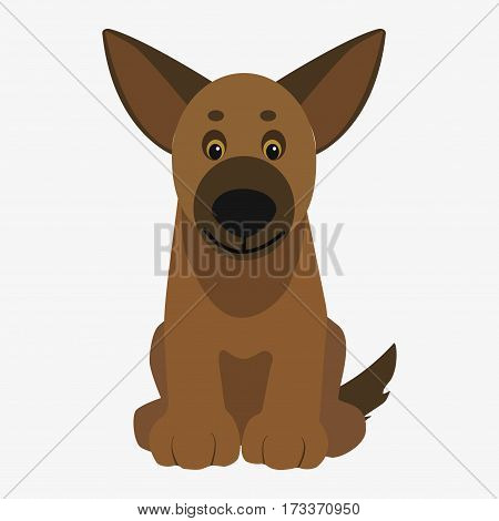 Brown dog sitting. Cartoon character. Children toy. Cute pet. Flat vector stock illustration