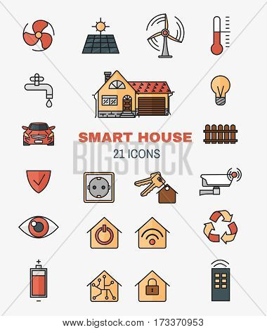 Set vector line art icons of the smart home, controlling through internet home work equipment. The concept of comfort and safety of a smart home.