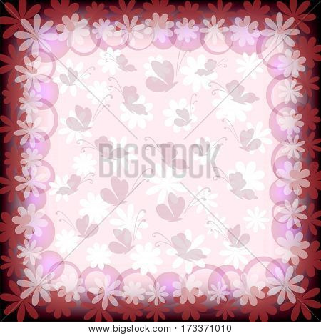 Background with Pattern, Butterflies and Flowers Silhouettes