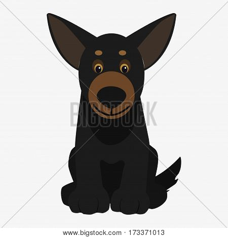 Black dog sitting. Cartoon character. Children toy. Cute pet. Flat vector stock illustration