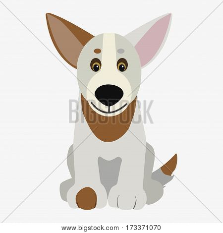Spotted dog sitting. Cartoon character. Children toy. Cute pet. Flat vector stock illustration