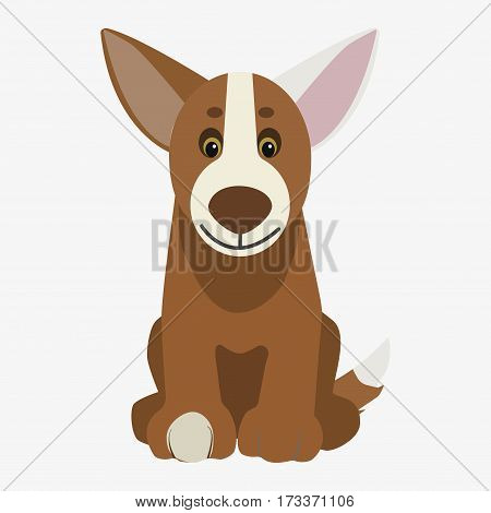 Brown and white dog . Cartoon character. Children toy. Cute pet. Flat vector stock illustration