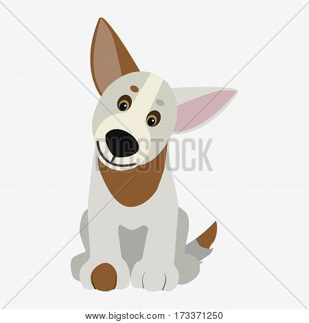 Obedient dog . Cartoon character. Children toy. Cute pet. Flat vector stock illustration