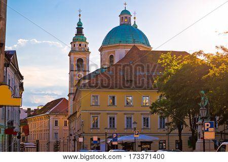 Ljubljana Church And Square Sunset View