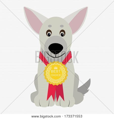 dog winner with medal. Cartoon character. Children toy. Cute pet. Flat vector stock illustration