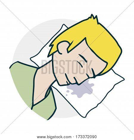 Boy sleeping on a pillow. Sleeping problems. Illustration of a funny cartoon style