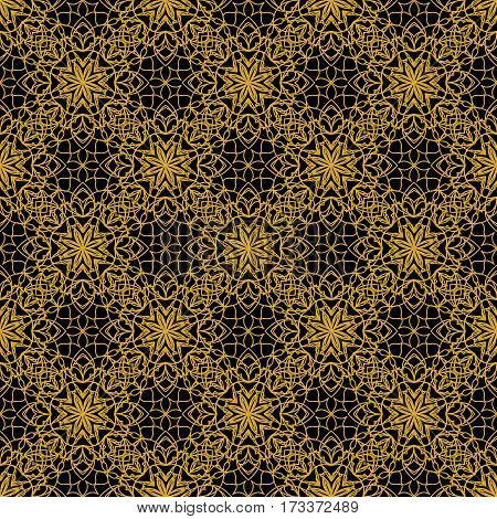 High contrasting seamless background tile with filigree golden ornament on black canvas. Vintage fabric style in damask design vector EPS 10