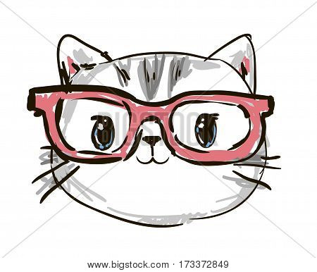 cool print children's T-shirt with cat, vector illustration, hand drawn cat with glasses