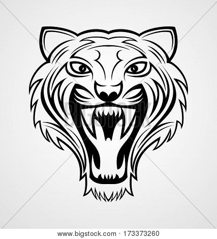 Angry tiger head tribal tattoo design vector