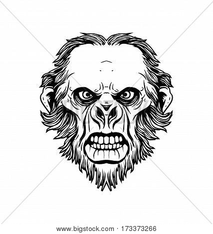 Ape face in hand drawn style vector illustration